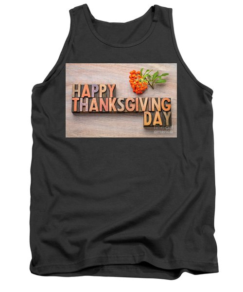 Happy Thanksgiving Day In Wood Type Tank Top