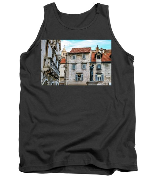 Houses And Cathedral Of Saint Domnius, Dujam, Duje, Bell Tower Old Town, Split, Croatia Tank Top by Elenarts - Elena Duvernay photo