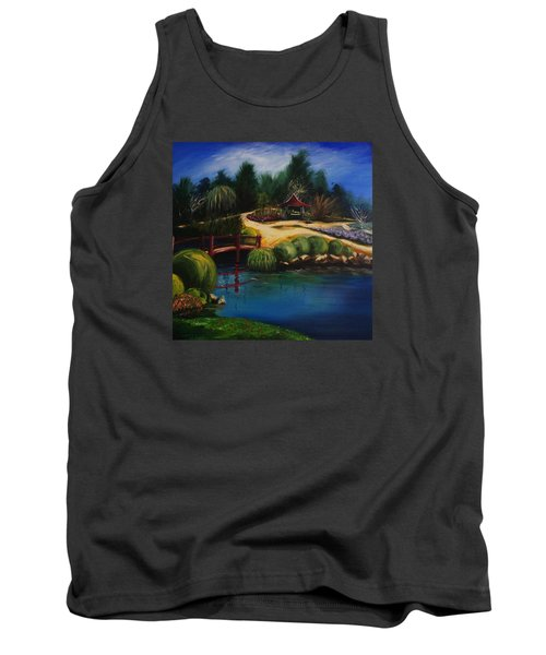 Tank Top featuring the painting Japanese Gardens - Original Sold by Therese Alcorn