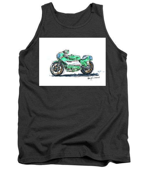 Kawasaki Kr 350 Classic Racing Motorbike Ink Drawing And Waterco Tank Top