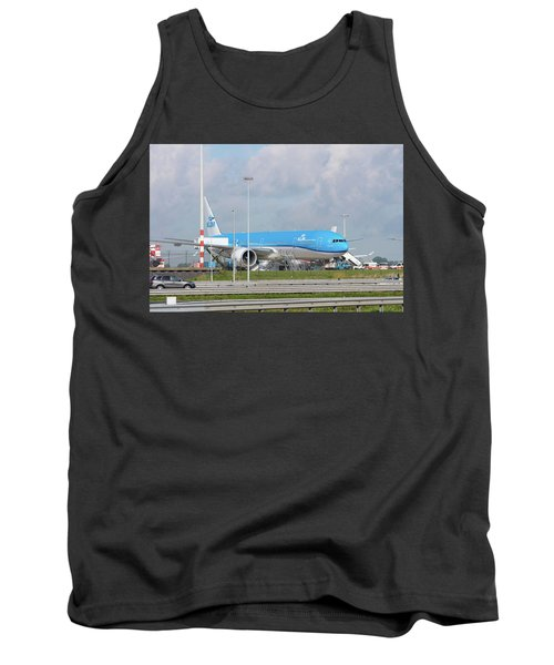 Klm Airplane At Amsterdam Schiphol Airport Tank Top by Hans Engbers