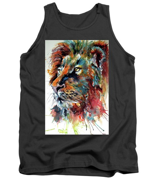 Tank Top featuring the painting Lion by Kovacs Anna Brigitta