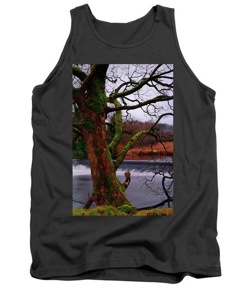 Mossy Tree Leaning Over The Smooth River Wharfe Tank Top