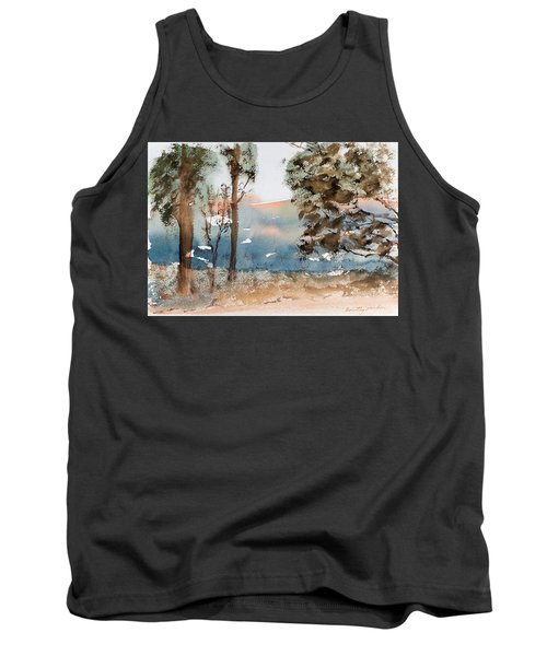 Mt Field Gum Tree Silhouettes Against Salmon Coloured Mountains Tank Top
