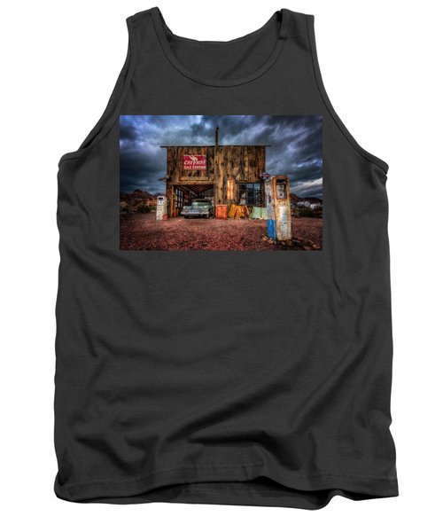 Nelson Nevada, Weathered Garage, Car, And Gas Pump Tank Top