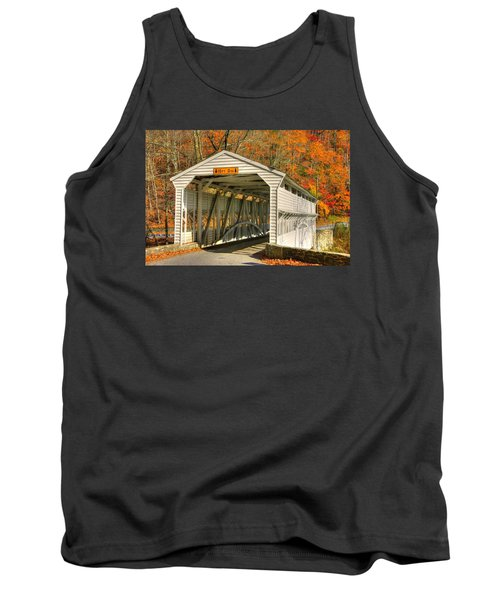 Pa Country Roads - Knox Covered Bridge Over Valley Creek No. 2a - Valley Forge Park Chester County Tank Top by Michael Mazaika