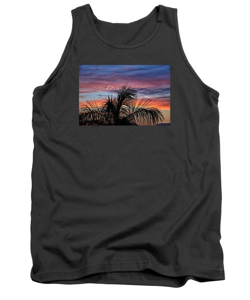 Tank Top featuring the photograph Palm Tree Sunrise by Nikki McInnes