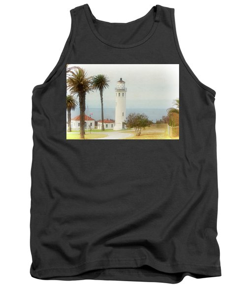 Point Vincente Lighthouse, California In Retro Style Tank Top
