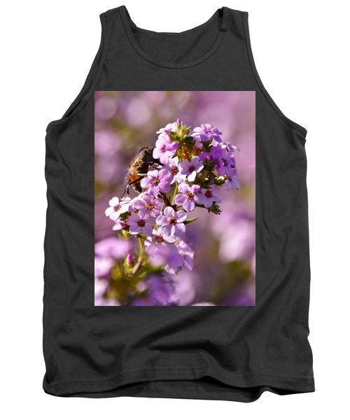 Purple Blossoms And Hoverfly Tank Top by Werner Lehmann