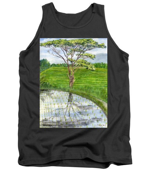 Tank Top featuring the painting Rain Tree On The Way To Ubud Bali Indonesia by Melly Terpening