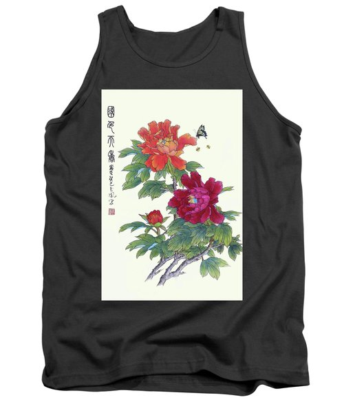 Red Peonies Tank Top