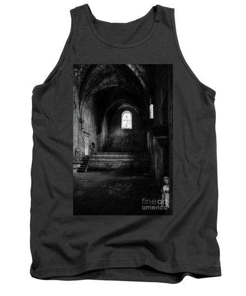 Tank Top featuring the photograph Rioseco Abandoned Abbey Nave Bw by RicardMN Photography