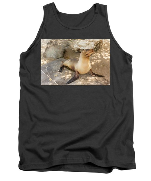 Tank Top featuring the photograph Sea Lion On The Beach, Galapagos Islands by Marek Poplawski
