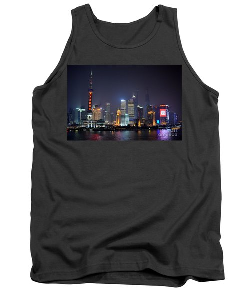 Shanghai China Skyline At Night From Bund Tank Top