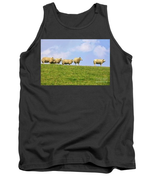 Tank Top featuring the photograph Sheep On Dyke by Patricia Hofmeester