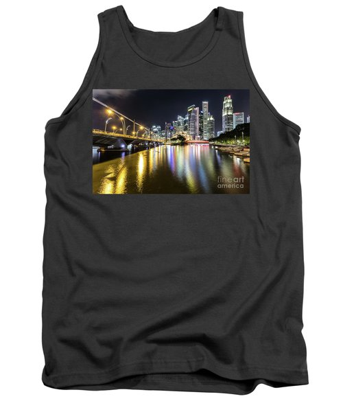 Singapore River At Night With Financial District In Singapore Tank Top