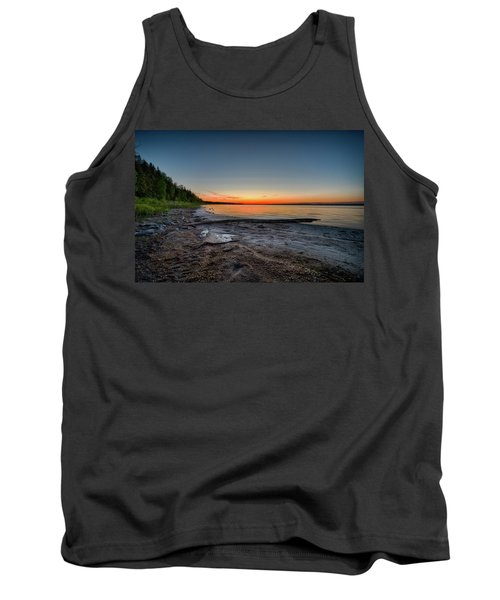Tank Top featuring the photograph Skeleton Lake Beach At Sunset by Darcy Michaelchuk