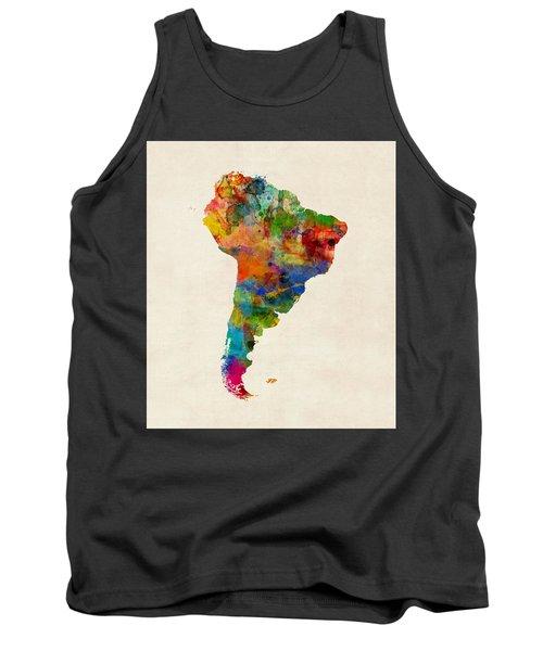South America Watercolor Map Tank Top