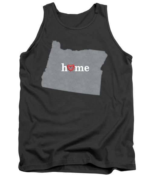 State Map Outline Oregon With Heart In Home Tank Top by Elaine Plesser