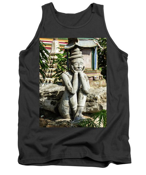 Statue Depicting A Thai Yoga Pose At Wat Pho Temple Tank Top