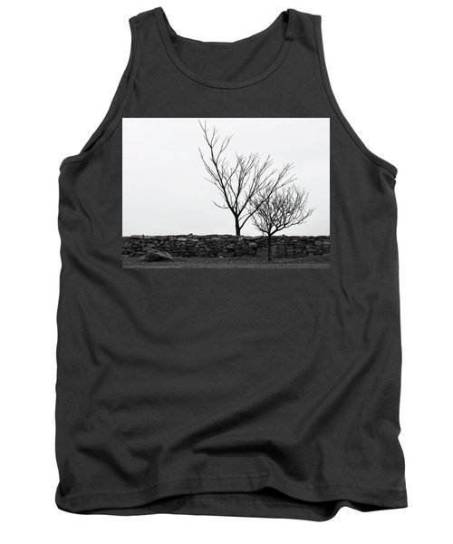 Tank Top featuring the photograph Stone Wall With Trees In Winter by Nancy De Flon