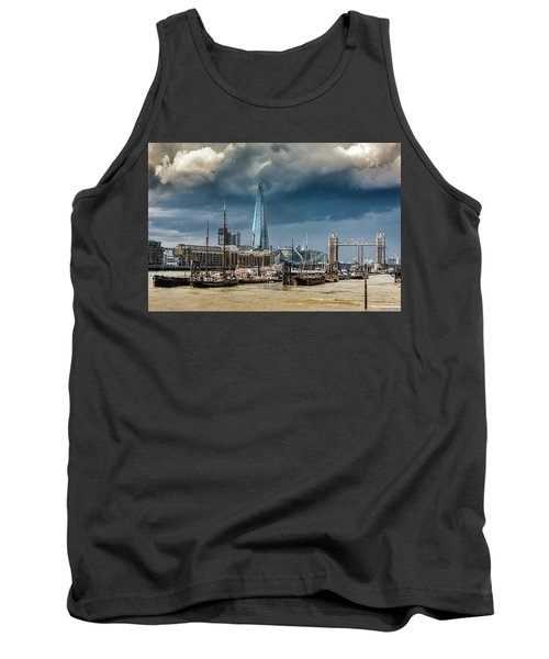 Tank Top featuring the photograph Storm Looming Over The Shard And Tower Bridge by Gary Eason