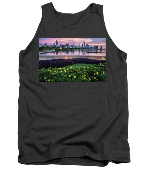 summer flowers and Chicago skyline Tank Top