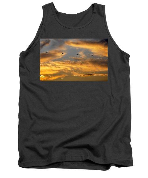 Tank Top featuring the photograph Sunset Flight by AJ Schibig