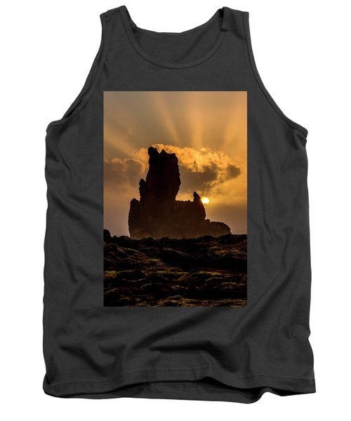 Sunset Over Cliffside Landscape Tank Top