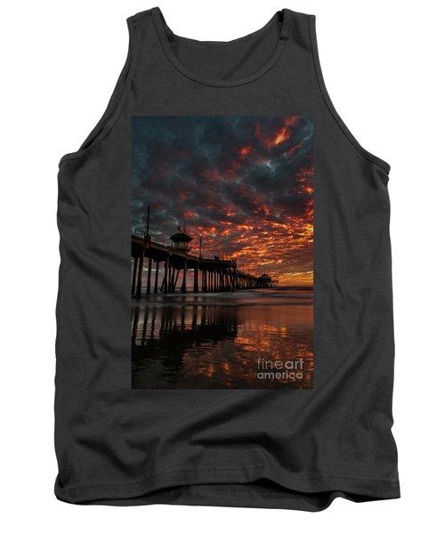 Sunset Over Huntington Beach Pier Tank Top