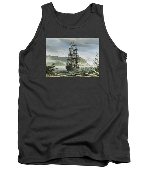 Tank Top featuring the painting Tall Ship Cove by James Williamson