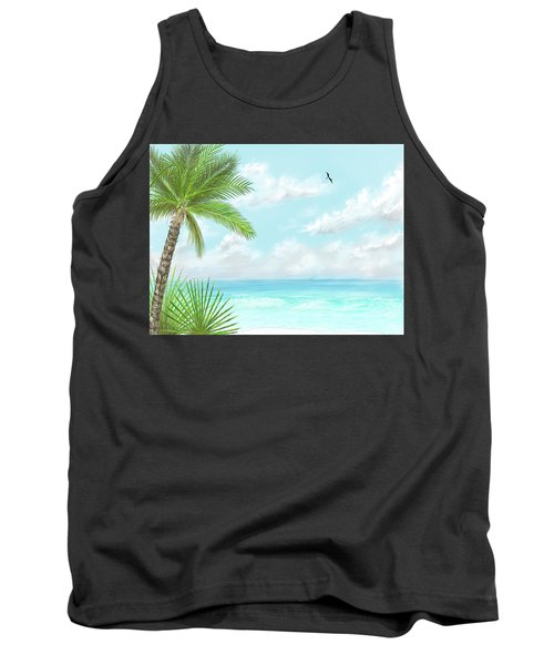 Tank Top featuring the digital art The Beach by Darren Cannell