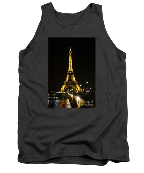 The Eiffel Tower At Night Illuminated, Paris, France. Tank Top