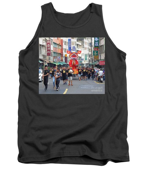 Tank Top featuring the photograph The Fire Lion Procession In Southern Taiwan by Yali Shi