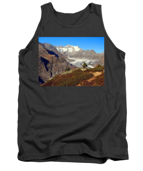 The Large Aletsch Glacier In Switzerland Tank Top by Ernst Dittmar