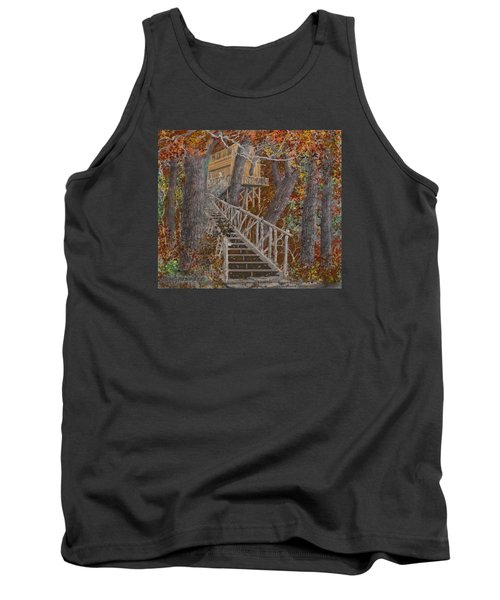 Tank Top featuring the drawing Tree House #1  by Jim Hubbard