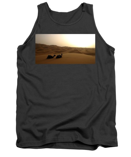 Two Camels At Sunset In The Desert Tank Top by Ralph A  Ledergerber-Photography