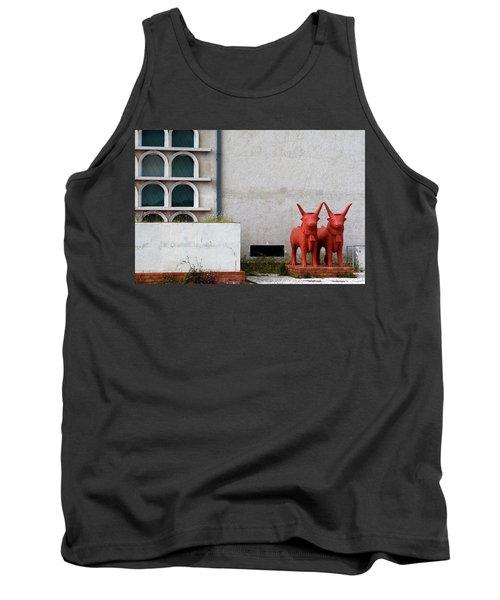 Tank Top featuring the photograph Two Orange Bulls by Lorraine Devon Wilke