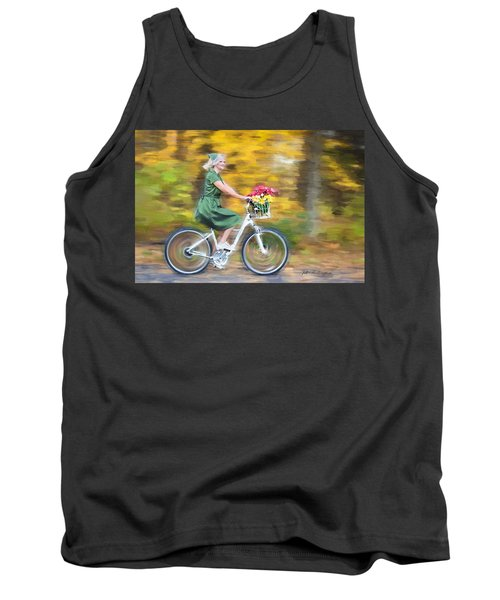 Tank Top featuring the digital art Vintage Val Bike Ride by Jill Wellington