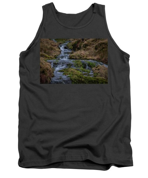 Tank Top featuring the photograph Waterfall At Glendevon In Scotland by Jeremy Lavender Photography