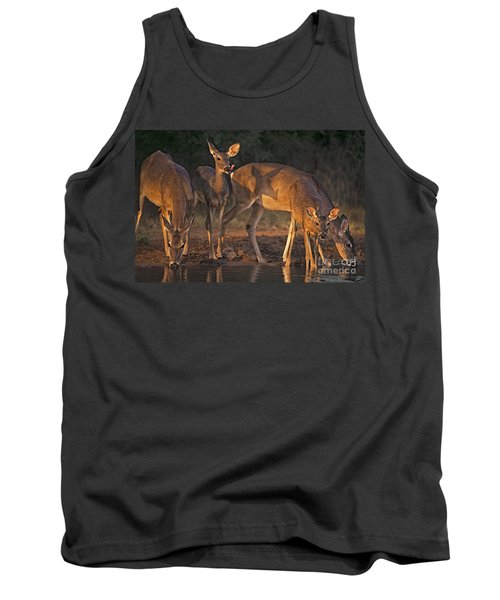 Tank Top featuring the photograph Whitetail Deer At Waterhole Texas by Dave Welling