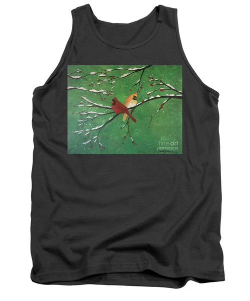 Tank Top featuring the painting Winter Cardinals by Denise Tomasura