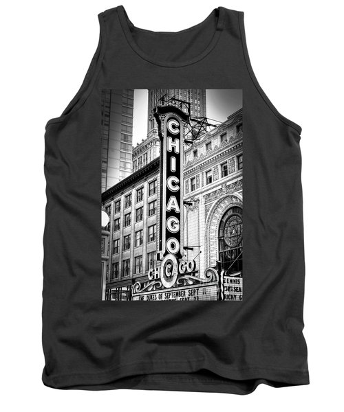 1077 Chicago Theater Black And White Tank Top