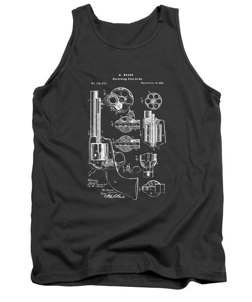 1875 Colt Peacemaker Revolver Patent Artwork - Gray Tank Top by Nikki Marie Smith