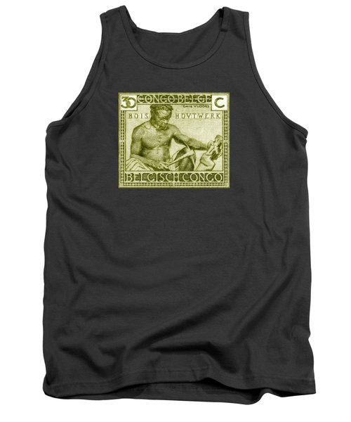 Tank Top featuring the painting 1925 Belgian Congo Native Woodcarving by Historic Image