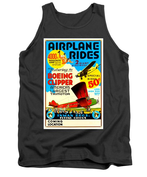 1929 Boeing Clipper Vintage Flying Circus Poster Tank Top
