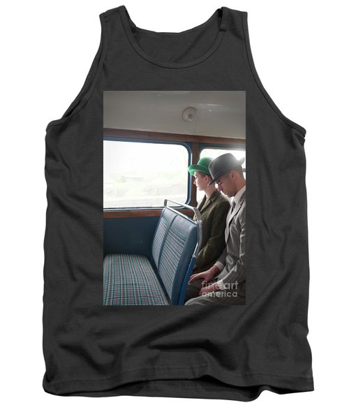 1940s Couple Sitting On A Vintage Bus Tank Top by Lee Avison