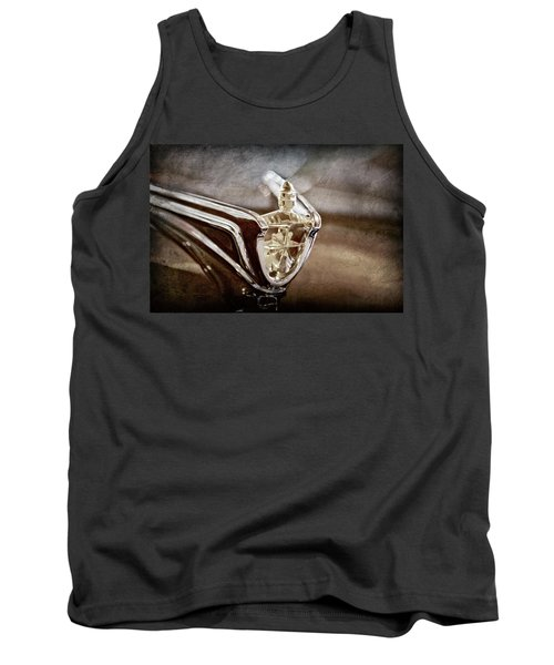 Tank Top featuring the photograph 1956 Lincoln Premiere Convertible Hood Ornament -2797ac by Jill Reger