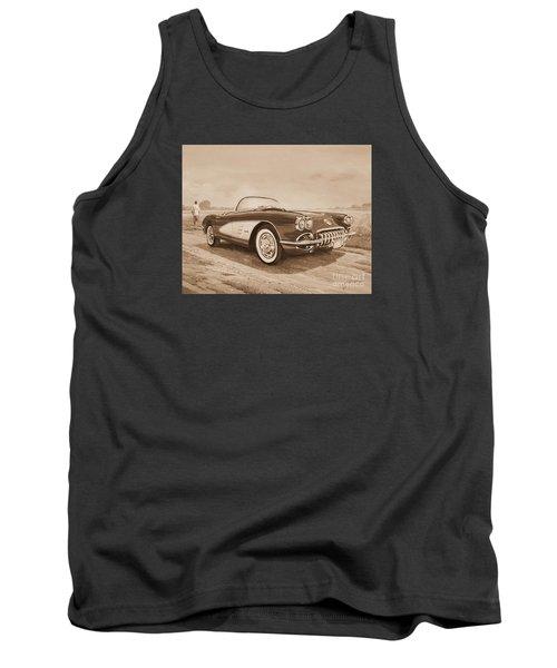 1959 Chevrolet Corvette Cabriollet In Sepia Tank Top