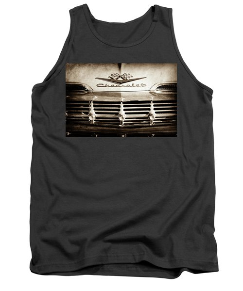 Tank Top featuring the photograph 1959 Chevrolet Impala Grille Emblem -1014s by Jill Reger